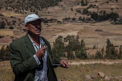 Getachew Yimam from woreda agricultural office explains how they managed to stop free grazing (International Livestock Research Institute) Tags: water field visit watershed ethiopia climatechange unep wollo ilri fieldvisit worieluethiopia kabewatershed