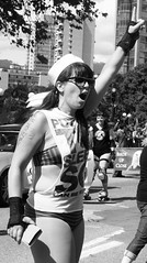 #1 (reena azim negi) Tags: light summer portrait bw woman sun sunlight white canada black hot west love girl hat sunshine sunglasses lady female vancouver outside outdoors grey 1 coast warm day bc bright britishcolumbia unity rollerskates sunny pride canadian parade neighborhood lgbt northamerica daytime sailor yelling yell westend neighbourhood province denman numberone vancity wristguards vancouverprideparade vps vanlover vancouverites ilovevancouver