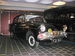 Classic Car.- Ford Anglia .. 1964, in Northern Ireland. (mrvisk) Tags: old history transport museum black aa badge indoor lamps attraction compact uk 2 two door mrvisk 1960s spotlight pic