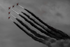 Moody Reds (BubsyBarr) Tags: red airplane photography scotland blackwhite hawk aviation military smoke jets aeroplane arrows redarrows raf t1 areobatics militaryjet fastjet eastfortuneairshow