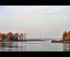 The essence of a dutch landscape - 7 (Wim Koopman) Tags: park autumn sky holland reflection water netherlands colors dutch clouds photography photo nikon mood bright horizon stock nederland atmosphere surface national biesbosch aquarel stockphoto subtle stockphotography d90 wpk