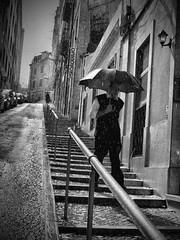 Rainy Day (Rui Palha) Tags: street people urban bw blackwhite lisbon interestingness1 streetphotography streetphoto rainydays blanchenoir ruipalha lisbonrainydays rainydayslisbon