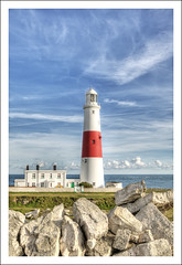 Portland Bill Lighthouse (Fazer44) Tags: uk blue red sea england sky lighthouse white house water clouds canon rocks weymouth portlandbill portlandbilllighthouse tpslandscape