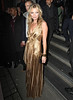 Kate Moss in a gold dress, at the after party celebrating the launch of 'Kate: The Kate Moss Book' hosted by Marc Jacobs, published by Rizzoli New York and supported by Ciroc Ultra Premium Vodka at 50 St. James. London, England