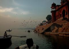 Munshi ghat (Christine Lebrasseur) Tags: travel blue people brown india france art architecture canon landscape varanasi in gange uttarpradesh allrightsreservedchristinelebrasseur landscapeseascapeskyscapeorcityscape
