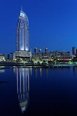 The Address Downtown Hotel, Dubai (Charn High ISO Low IQ) Tags: blue canon eos hotel dubai cityscape uae highrise bluehour waterreflection 600d dubaimall addressdowntown