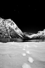 Walking in the moonlight (The Nature Guy) Tags: longexposure winter blackandwhite mountain snow water norway night stars landscape norge nikon fjord winterscape mreogromsdal leira storfjord hjrundfjord viddal norwegan mreandromsdal d7000 utolhornet nikkor1024f3545gdxed nessethornet
