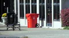 (Over processed pic) City of Louisville - Otto Millenium Cart - Black is garbage, Orange is recycling (FormerWMDriver) Tags: trash garbage kentucky ky can bin litter collection container rubbish louisville waste cart refuse recycle recycling sanitation