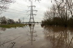 Pylon and Reflection (Sue_Hutton) Tags: autumn flooding leicestershire pylons floods a6 charnwood zouch riversoar november2012 t189522012week48 rempstoneroad