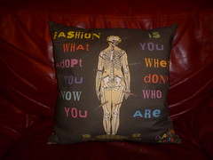 Fashionista Cushion (Glanoramay) Tags: fashion skeleton patterns surreal crisp fabric quotes kit custom needles cushion cushions quinten spoonflower