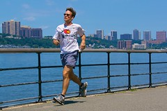 park newyork sunglasses river newjersey solitude alone manhattan running hudsonriver jogging solitary earphones riversidepark