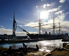 Portsmouth contre-jour, England, UK (Beardy Vulcan) Tags: november autumn sea england sun tower fall silhouette coast ship glare harbour jetty navy hampshire quay anchor portsmouth spinnakertower van watercraft contrejour warship 2012 dockyard royalnavy portsmouthharbour hmswarrior ironclad navalbase