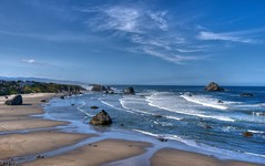 Bandon, Oregon (Thad Roan - Bridgepix) Tags: ocean blue sky beach rock clouds oregon landscape coast sand surf pacific formation bandon facebook d800 201205