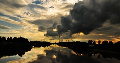 Velvia Sunset (Ryan J. Nicholson) Tags: sunset sky cloud colour film clouds 35mm landscape golden factory fuji cloudy fake slidefilm velvia effect 100asa fujichromevelvia colourslidefilm likeno