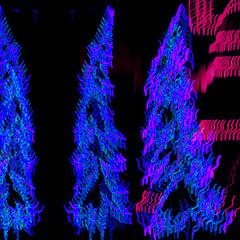 Squiggles (fillzees) Tags: blue light abstract motion black blur tree night design outdoor mashup illumination vivid fx visualart multiexposure vividimagination goldstaraward awardtree visualmashups altrafotografia