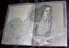 Rory with some celtic stuff... (gráce) Tags: ireland musician music irish rock pencil paper drawing blues rory gallagher celtic guitarist rorygallagher