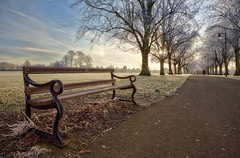 But, Baby it's Cold Outside! (Vemsteroo) Tags: road winter light tree sunrise canon bench landscape frost path seat freezing tranquility lamppost ii dew sit balance awe wonderland magical f28 perfection hoar 6d lseries 1635mm beautyinnature thewayforward