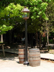 8890-Street light and barrels (anonneymouse1) Tags: lights lanterns chandeliers lamps candlelights oillamps sconces