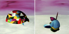 The Fishing Day (legs) diptych total size, 91x162 cm. Acrylic on canvas. 2010