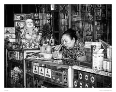 She eats noodles | Buddha eats the concerns (sdc_foto) Tags: street blackandwhite bw lunch buddha streetphotography vietnam saigon chinesequarter sdcfoto