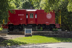 Red Caboose (Doug.Mall) Tags: dogwood52 52weeks americas apex architecture artistic building challenge color commercialbuilding location nc photochallenge seaboardrailroad traindepot usa caboose red train northcarolina