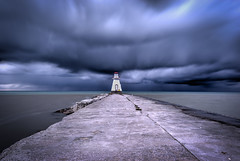 Stormy Evening (leomacdonald) Tags: storm clouds blue sky canada southampton ontario lakehuron lighthouse explore sonya7 darksky ominous water rain thunder
