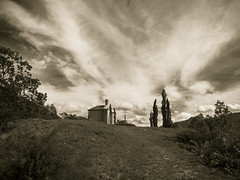 La Chapelle sur la colline / The Chapel on the hill (CTfoto2013) Tags: eglisevieille oldchurch lumix panasonic gx7 mirrorlesscamera micro43 church eglise chapel stcrepin hautesalpes sepia retro vintage peupliers poplars colline hill monochrome outdoor cloud sky mountain landscape mood atmosphere ambiance cloudy nuageux orageux stormy light lumiere ciel nuages clouds montagnes alpes alps frenchalps alpesfrancaises