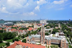 Chicago in the distance (marensr) Tags: view skyline roofs rockefeller memorial chapel uchicago university chicago gothic architecture