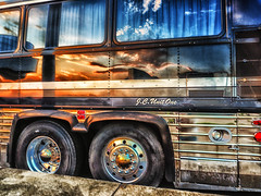 johnny_and_june (gerhil) Tags: creativephotography artistic interpretation bus vehicle outdoor reflection artifact sky color museum collection historic vintage summer august2016 nikcolorefexpro4 tire sunset goldenhour 1001nights