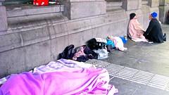 IMG_4553  : Melbourne city street - scenes, Australia (aciamax) Tags: buildings cars city flindersstreet flinderslane melbournecity swanstonstreet pedestrians people skyscrapers tallbuildings trains trams aciamax victoria maxbeach federationsquare homeless tramps beggers drunks