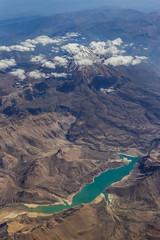 Lar Dam Mt Damavand (robertdownie) Tags: lake volcano blue clouds aerial snow climb mountain ice dam middle east range persia hydro power stations iran tehran alborz mazandaran damavand kalan lavarak