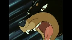 Cloaked In Mawshots (qwertyuiop767) Tags: ginga nagareboshi gin anime mawshot maw mouth teeth tongue open slobber saliva dog canine sniper doberman pinscher cloaked