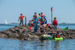 In Dolliber's Cove (Facundity) Tags: marblehead summer beach streetphotography candid coastallife newengland canoneos70d kayak oars bucket boards ocean sailboat rocky island water children dolliberscove inflatables outdoors outdoor