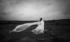 Lost In The Unknown (Maren Klemp) Tags: fineartphotography fineartphotographer darkart darkartphotography blackandwhite monochrome white dress windy nature landscape outdoors sky selfportrait portrait evocative expressive ethereal vintage nostalgic melancholy surreal conceptual