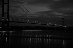 Humber Bridge just before dawn (alan.irons) Tags: humberbridge humber night river black white