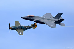 Heritage Flight (dpsager) Tags: airshow2016 chicago chicagoairandwatershow dpsagerphotography f35heritageflight f35lightningii lakemichigan lakefront military mustang p51 aircraft airplane