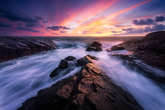 Ocean Flow (Arvid Bjrkqvist) Tags: sunset flow ocean waves light colors vivid blue hour sky clouds sea sweden ringhals biskopshagen varberg bua rocks cliffs horizon
