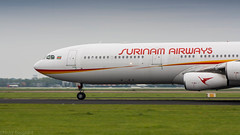 Surinam Airways A340 thundering down the runway on it's way to Paramaribo (Nicky Boogaard Photography) Tags: spl17092016 aviation klm surinam airways british airbus boeing bombardier rosenbauer eone tap portugal easyjet firefly schiphol amsterdam a350 singapore airlines 789 787 flybe embrear e175 777 767 icelandair