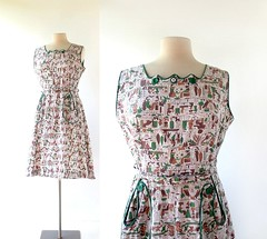 1950s Ancient Egypt novelty print dress, from Top Modes Frocks (Small Earth Vintage) Tags: smallearthvintage vintagefashion vintageclothing dress 1950s 50s ancientegypt noveltyprint cotton topmodesfrocks