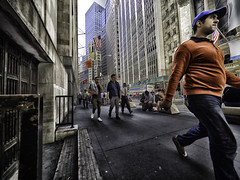 Walking on Wall Street (C@mera M@n) Tags: candid financialdistrict manhattan nyc newyork newyorkcity newyorkcityphotography people places walking wallstreet wideangle peoplewatching