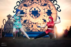 Showdown (Snowgrimm) Tags: ranma12 anime cosplay fight cute girls chinese japanese light dawn festival beauty costume