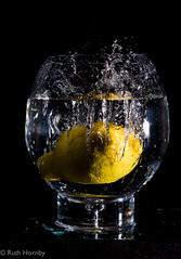 Fruit Splashes-7 (Ruthie H) Tags: black wet water yellow fruit lemon flash splash highspeed offcamera