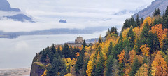 One Foggy Fall Day at Crown Point (David Gn Photography) Tags: travel autumn trees panorama mountains color fall rock misty fog oregon season landscape washington raw scenic evergreen pacificnorthwest change deciduous crownpoint viewpoint lowclouds touristattraction columbiarivergorge vistahouse beaconrock canonef100400mmf4556lisusm basala canoneos60d