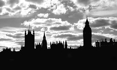Westminster ([ pm ]) Tags: 4728 london bigben housesofparliament sky skyline bw pm eosrebelt1i500dkissx3 westminter parliament canon 500d paulmarsh