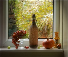 Autumn in My Window (vesna1962) Tags: autumn stilllife home window glass bottle squash grapes windowsill oillamp homeshots