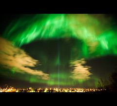 The come in peace, or thats what they say :) (Ptur Gunn Photograpphy) Tags: show life city sky green stars greek dawn star iceland amazing cool energy time god space alien aliens queen trail experience aurora gods once must reykjavk sland witness borealis lifetime kpavogur mith mitholigy