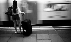 Whilst waiting for my Train.. (Dominica69) Tags: woman london film station train 35mm bag kodak platform luggage analogue ricoh gr1v bw400cn c41