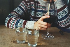 Le Bateau ivre (Iciar J. Carrasco) Tags: wood autumn cold color berlin cute fall film wool water girl bar analog 35mm germany table restaurant sweater nice warm soft pattern hand wine interior grain jersey crown delicate cosy wintery