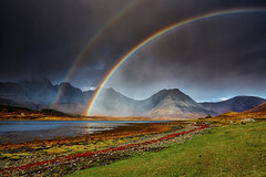 Double Rainbow on Bl Bheinn, Skye (mark_mullen) Tags: light shadow storm skye rain landscape islands scotland highlands moody shoreline doublerainbow portree blaven torrin canon1740f4 lochslapin blbheinn canon5dmk3 markmullenphotography