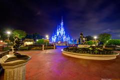 Cinderella's Castle Hub (TheTimeTheSpace) Tags: sky castle night hub lights statues disneyworld glowing minnie waltdisneyworld ultrawide hdr magickingdom waltdisney partnersstatue cinderellascastle hdratnight
